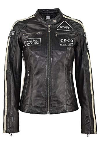 COCO BLACK LABEL since1986 Damen Lederjacke CBL Racing Boy aus Lammleder mit Pachtes und Racing Streifen, Farbe:Schwarz, Größe:42