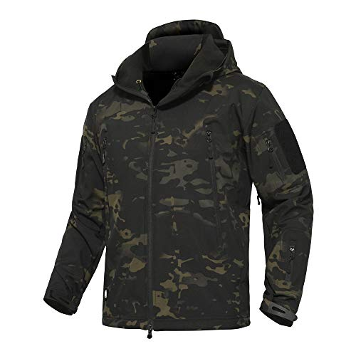 ANTARCTICA Men's Outdoor Waterproof Soft Shell Hooded Military Tactical Jacket (Black Camo, XL)