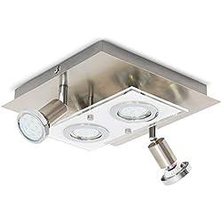 B.K.Licht Plafoniera LED da soffitto, 2 luci fisse e 2 luci orientabili, include 4 lampadine GU10 da 3W, corpo metallo e vetro, color nickel opaco, lampada moderna quadrata, lato 25cm 230V IP20
