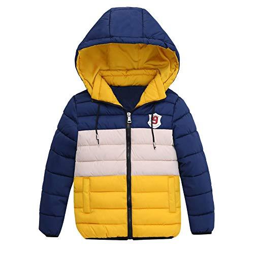 FeiliandaJJ FeiliandaJJ Kinder Mantel Junge,Toddler Winterjacke mit Kapuze Zipper Outwear Jacken Kids Coat Baumwoll Warme Kleidung 4~7 Jahre alt (110 (3~4 Jahr alt), Gelb)