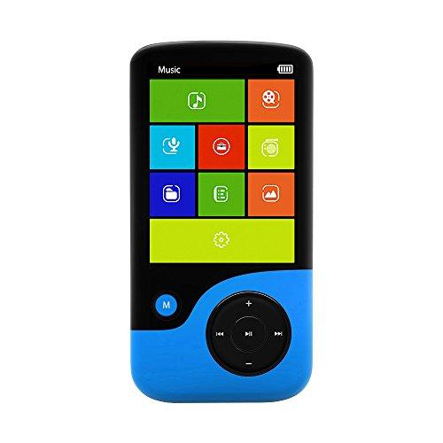 Crypto MP2400Bt 8GB MP4 Player mit FM-Radio, Video, Diktiergerät, Bluetooth und Micro-SD-Kartensteckplatz -Schwarz/Blau