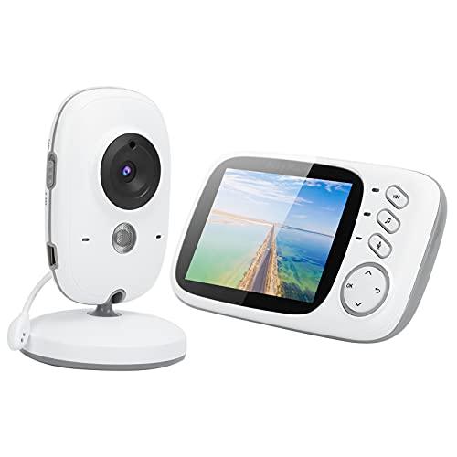 Vigilabebés con video, Vigilabebés con video inalámbrico con cámara digital, Inalámbrico de 2.4GHz, Monitor de pantalla de 3.2 pulgadas, Visión nocturna, Monitoreo de temperatura ambiente(EU)