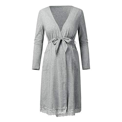 N-B Moderskap pyjamas med fickor moderskapskläder bälte moderskap kläder vardaglig damkläder amningskläder amning toppar moderskap toppar
