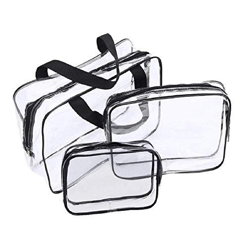 3er Set transparente Kulturbeutel Wasserdicht Kosmetiktasche Transparent Kulturtasche für Reisekosmetik im Koffer und Handtasche Handtasche