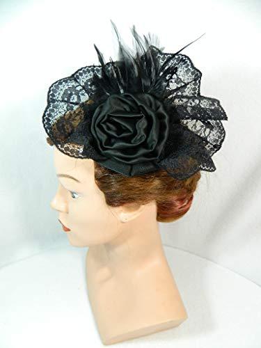 romantischer Fascinator schwarz Spitze Gothic Steampunk Lolita Federn Netzschleier Damenhut