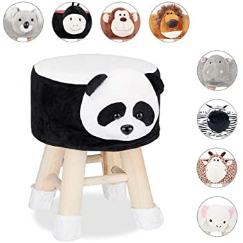 Relaxdays Tierhocker Panda, Dekohocker Kinder, Abnehmbarer Bezug, Holzbeine, gepolstert, Kinderhocker Tiere, schwarz weiß