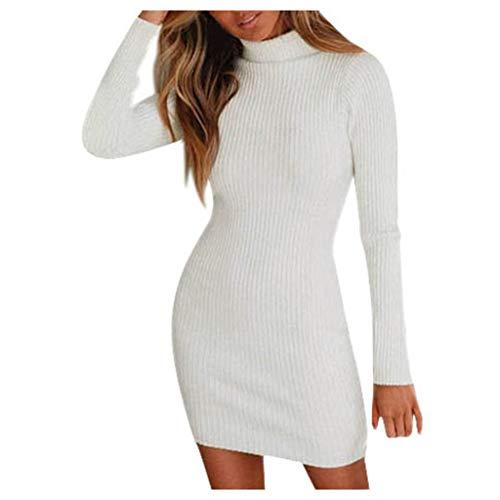 DNOQN Damen Wickelkleid Rollkragenkleid Businesskleid Mode Damen Urlaub Stil Sexy Solide Lange Ärmel Beiläufig MinikleidPulloverkleid Etuikleid Damenkleider Pullikleid