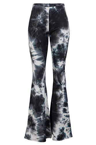 FASHIONOMICS Womens Boho Comfy Stretchy Bell Bottom Flare Pants (M, Tiedye 1)
