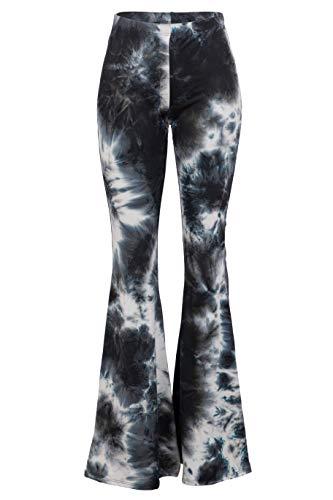 FASHIONOMICS Womens Boho Comfy Stretchy Bell Bottom Flare Pants (M, Tiedye 1)