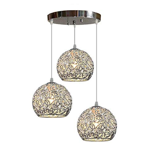 GaoF Lámpara Colgante de Jaula de Alambre Hueco de Aluminio Industrial Moderno LED Lámpara Colgante de Isla de Cocina Creativa Lámpara Colgante de Comedor con Forma de Bola Luz