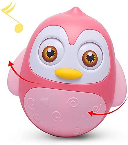 Alyoen Stehauffigur Pinguin, Stehaufmännchen Motorikspielzeug mit Wackel-und Klingeleffekt, Musik Wobbler Baby Spielzeug 6 bis 12 Monate, Roly Poly Tumbler Spielzeug für Jungen Mädchen (Pink)