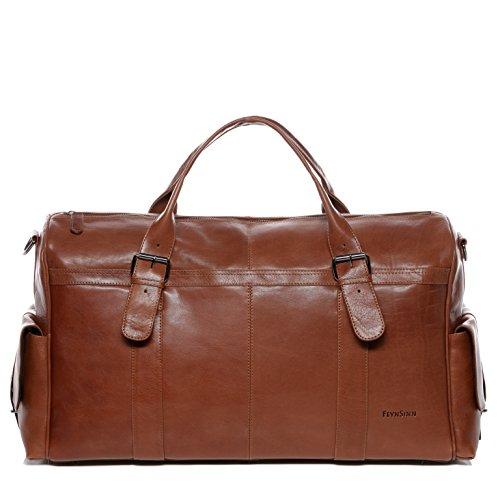 BACCINI Sac de Voyage Cuir v/éritable LUCA Grand 50 cm fourre-Tout Besace Week-End Sac Sport Bagages Cabine /à Main Noir
