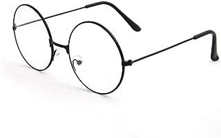 ETbotu Unisex Round Glasses Frames Glasses with Clear Lens Optical Transparent Glasses Black