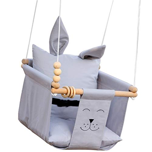 Baby Swing Seat Set Indoor Outdoor All Hardware Safety Belt Wooden Toys Two Pillow Included Grey Hanging Chair for Little Infants Nursery Decor - Toddler Fabric Swing Stand, Rope Ladder