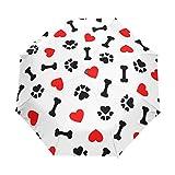 XLING Paraguas automático diseño de Huellas de Perro, Antideslizante, Resistente al Viento, Compacto, Paraguas para la Lluvia, para Mujeres, Hombres, niñas, niños