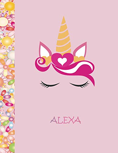 Alexa: Personalized Unicorn Sketchbook For Girls and Kids, drawing notebook, 8.5x11 110 Pages Doodle Create