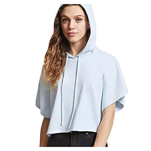 Dasongff Sudadera para mujer de manga corta con capucha, básica, informal, para verano, camiseta de manga corta