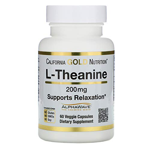 California Gold Nutrition L-Theanine, AlphaWave, Supports Relaxation, Calm Focus, 200 mg, 60 Veggie Capsules