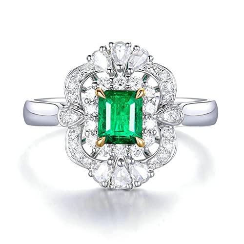 Amody Anillos de Matrimonio Oro Blanco, Anillos para Matrimonio con Diamante y Esmeralda 0.5ct Tamaño 12