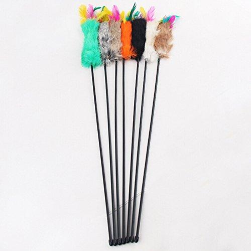 Juguete bastón de plumero con pica y pluma, para perro, gato, animal, de plástico, 55 cm