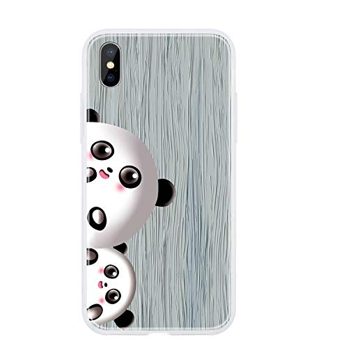 Miagon Holz Korn Hülle für iPhone X/XS,Ultra Dünn Weiche Silikon Handyhülle Cover Stoßfest Schutzhülle mit Schöne Süß Panda Muster,Grau