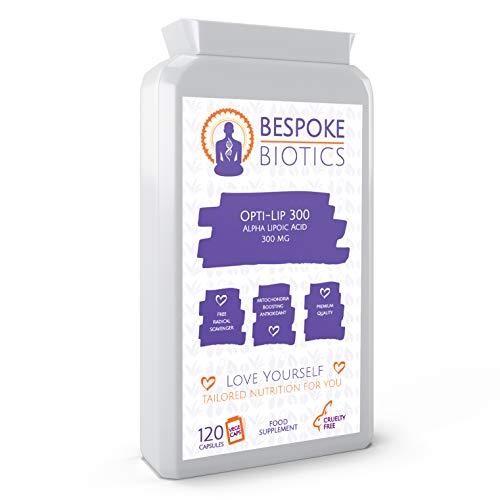 Alpha Lipoic Acid | Opti-Lip 300mg | 120 Caps| Super Antioxidant ALA |Liver| Skin|Brain|Ageing| Sugar Control| Double Action RALA SALA | UK Made | GMP Standard