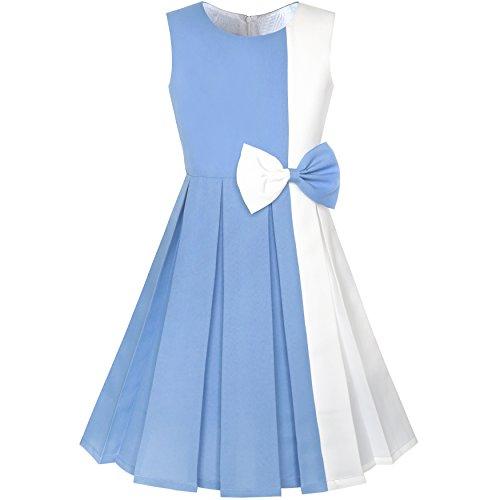 Sunny Fashion Vestido para niña Color Bloquear Contraste Corbata de moño Fiesta 14 años