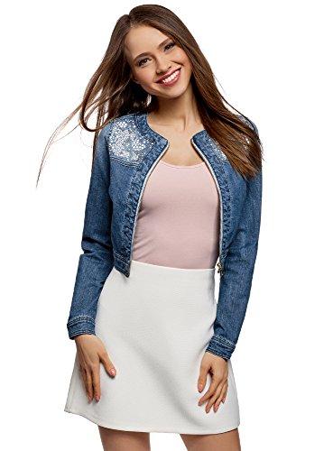 oodji Ultra Donna Giacca in Jeans con Decorazioni Metalliche, Blu, IT 40 / EU 36 / XS