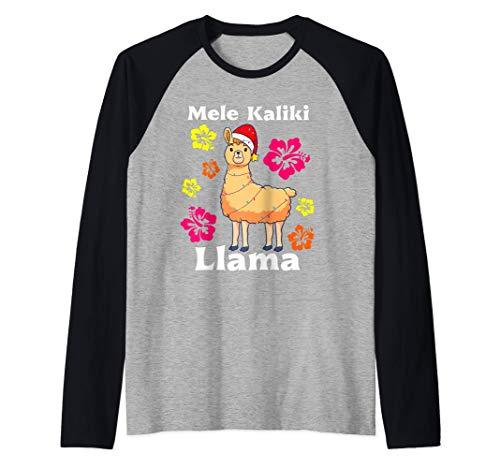 Mele Kalikimaka, Llama Santa, Hawaiano Navidad Mujeres Camiseta Manga Raglan