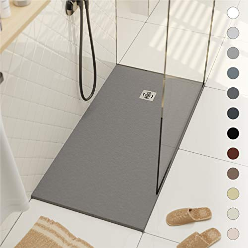 Shower Tray 800 x 1700 Stone Resin Ebro - Anti Slip and Low Profile - Matte Finish and Slate Effect - All Sizes Available - Shower Waste and Grid Included - Grey RAL 7040