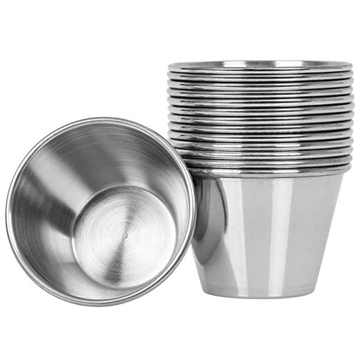 Artcome 14 Pack Stainless Steel Condiment Sauce Cups Great for Dipping and Portion Cups, 2.5 oz