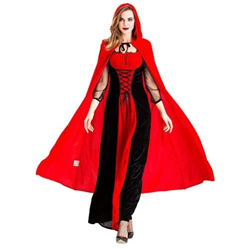 RISTHY Vestidos de Halloween para Mujer Disfraz de Fiesta de Bruja Vampiro Cosplay Vestido Largo Vintage