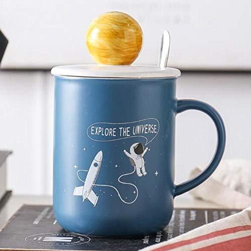 lookmoon Taza de cerámica Creativa Astronautas Hombres y Mujeres Amantes del hogar Taza Oficina Taza de café Simple Taza D 500ML