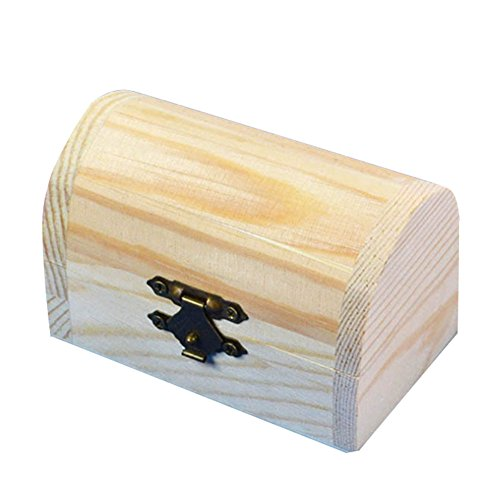 kentop joyas pequeño estuche de madera madera cajas Mini Cofre del Tesoro con tapa
