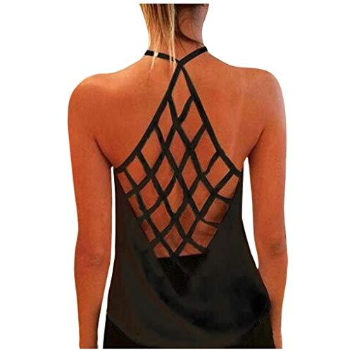 Damen Sexy Bluse Weste Mode Tanktop, personalisiertes, bedrucktes, sexy, rückenfreies Tanktop für Damen,Sporttop Yoga Rückenfrei Oberteil Laufen Fitness Funktions Shirt Tank Tops(3-Schwarz:S)