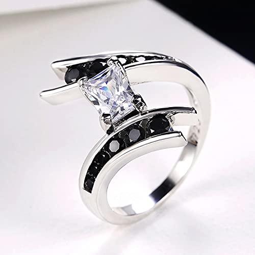 Fashion Geometric Shape Women Ring Wedding Engagement Party Ring Finger Ring White & Black Stone Daily 6 Multi