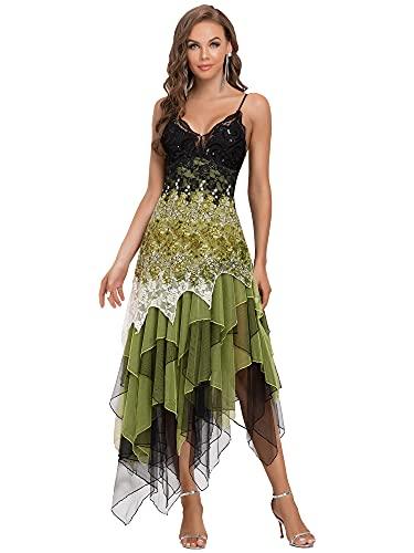 Ever-Pretty Asimetrico Vestido de Noche Corto Vestido de Fiesta Cuello en V Vestido Casual para Mujer Verde 46