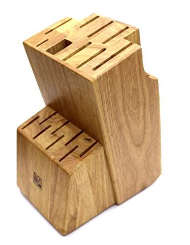 Miracle Blade World Class Series - Supporto in legno per posate, coltelli e forbici con 17 fessure e piedini in gomma, 27 x 13,5 x 17 cm
