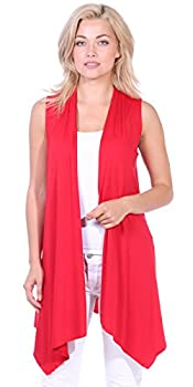 Popana Women's Casual Sleeveless Long Duster Cardigan Vest Plus Size Made in USA Medium Red