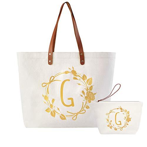 ElegantPark - Bolsa personalizada de lona estampada con la letra de tu elección y cremallera para mujer, ideal como regalo de Navidad, regalo para profesor, bolsa cosmetiquera para maquillaje