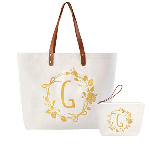 ElegantPark Personalized Gifts for Women Canvas Monogrammed Bags and Totes Travel Makeup Bag Travel Cosmetic Bag for Wedding Gifts Birthday Gifts Teacher Gifts G Initial Bag Set 2 Pcs