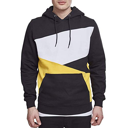 NLZQ Men's Pullover Hoodie Long Sleeve Comfortable Gym Running Fashion Patchwork Hoody Spring, Autumn and Winter New Sport Running Walking Drawstring and Pocket Sweatshirts M