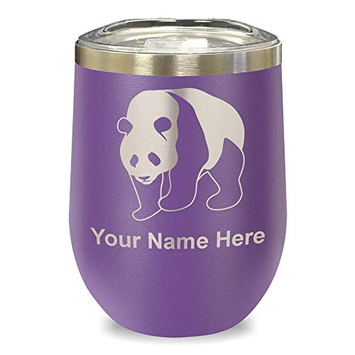 LaserGram Double Wall Stainless Steel Wine Glass Tumbler, Panda Bear, Personalized Engraving Included (Purple)
