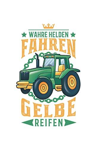Traktor Notizbuch: Traktor Held Gelbe Reifen Trecker Landwirt Bauer / 6x9 Zoll / 120 gepunktete Seiten Seiten