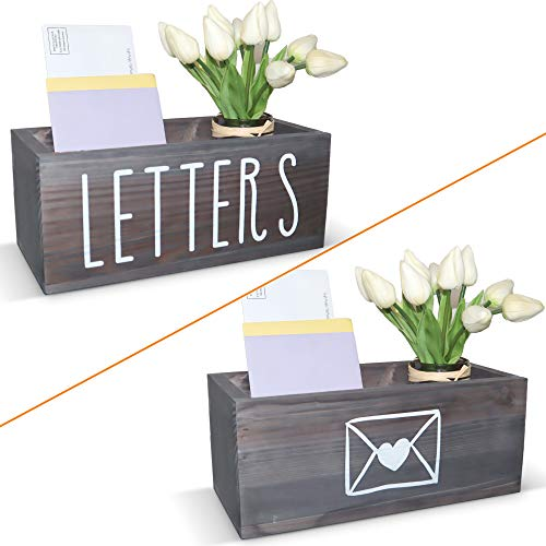 Wooden Mail Organizer Letter Holder Box - Rustic Mail Holder for Countertop, Bill Coupon Envelope Storage Mail Basket for Home Office Decor, Farmhouse Desk Organizer Mail Sorter (Grey)