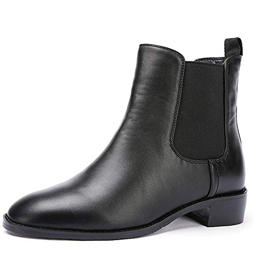 Odema Women Chelsea Boots Sahara PU Leather Low Heel Elastic Slip On Ankle Booties(Black Velvet Lining)
