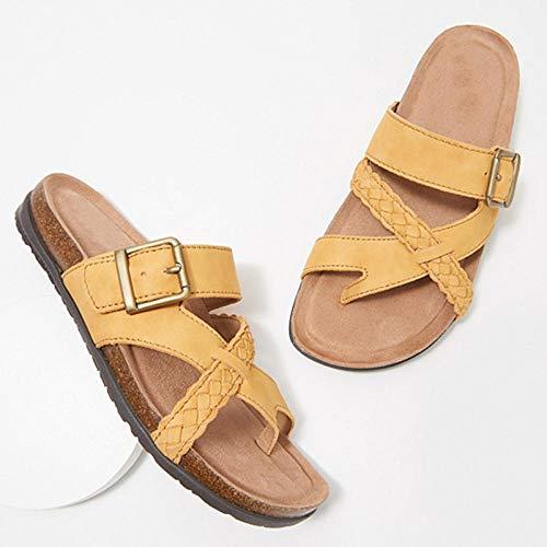 ZUOX Sandalias de Punta Descubierta,Sandalias de Talla Grande para Mujer, Chanclas Casual-Yellow_36,Zapatillas de Masaje Hombres