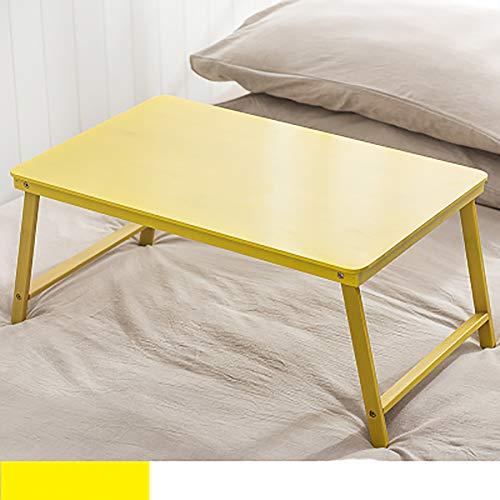 Mesa pequena colocada en la cama con mesa de comedor Dormitorio plegable de madera Cama Dorm con Mini Colegio Estudiantes, color amarillo