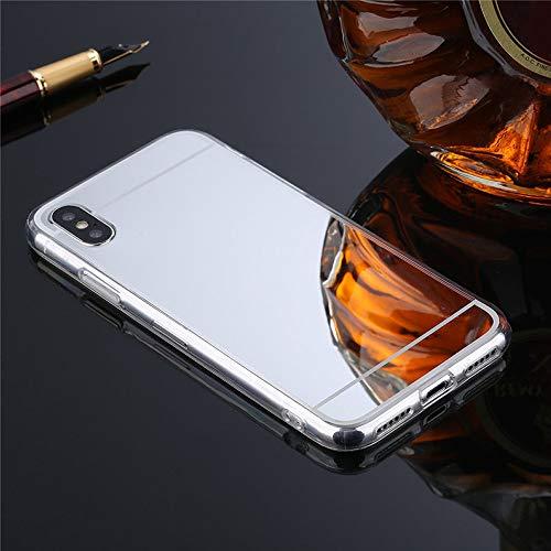 Nadoli Spiegel Hülle für iPhone XS,Glänzend Shiny Mirror Effect Soft TPU Case Spiegel Flexibel Gel Schutzhülle für iPhone XS (5.8 Zoll),Silber