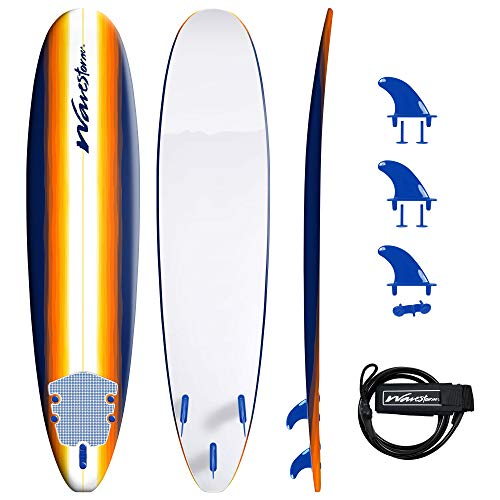 Wavestorm 8ft Classic Longboard Surfboard (Org Burst), AZ22-WSSF800-ORG